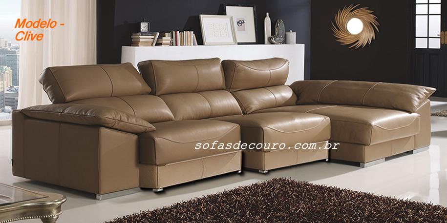 Sof retr til de couro 44 modelos lindos em couro for Sofas articulados modelos